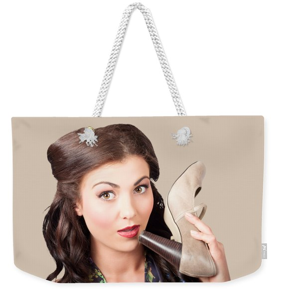 Pinup Vintage Woman Chatting On Shoe Phone Weekender Tote Bag