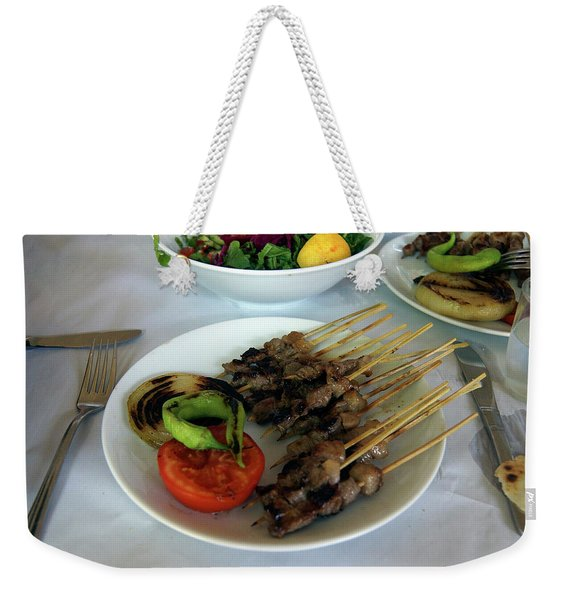 Plate Of Kebabs And Salad For Lunch Weekender Tote Bag
