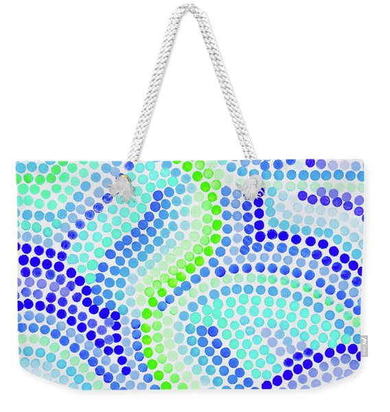 Pointillism On Half A Steroid - Blue And Green Weekender Tote Bag