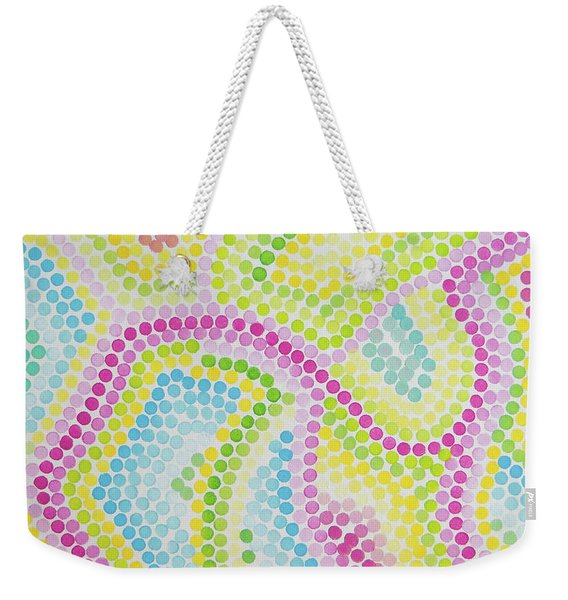 Pointillism - Palm Beach Pink And Green Weekender Tote Bag