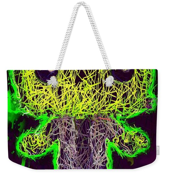 Weekender Tote Bag featuring the mixed media Frankenstein Pop 2 by Al Matra
