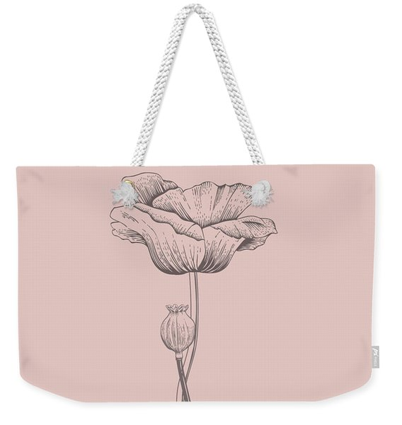 Poppy Blush Pink Flower Weekender Tote Bag
