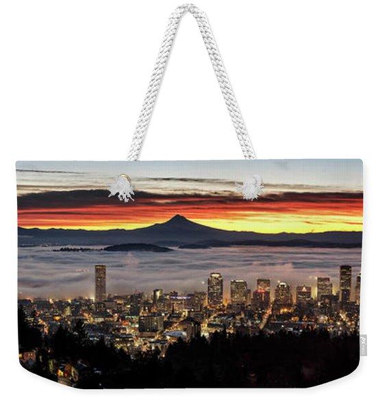 Portland Foggy Sunrise Weekender Tote Bag