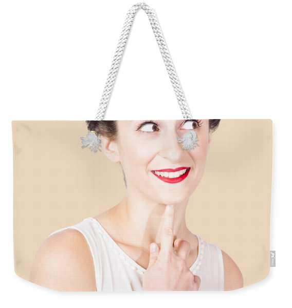 Portrait Of A Lovely Retro Woman With Clear Skin Weekender Tote Bag