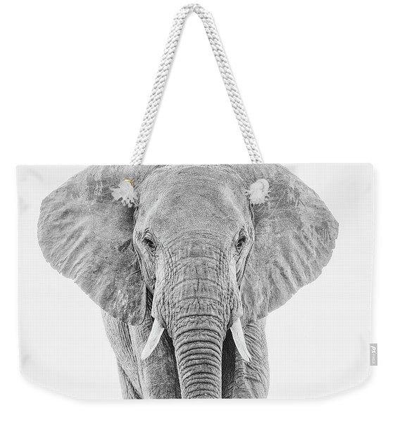 Portrait Of An African Elephant Bull In Monochrome Weekender Tote Bag