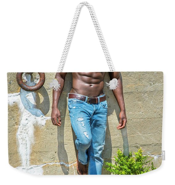 Portrait Of  Young Black Fitness Guy Weekender Tote Bag