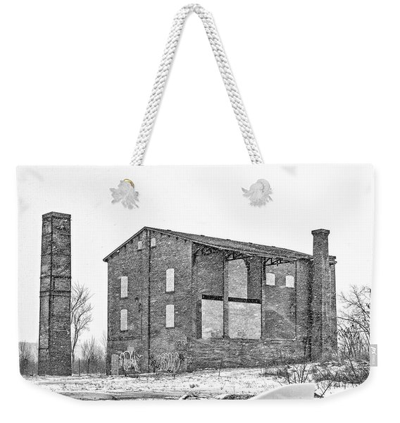 Powerless Station In A Blizzard Bw Weekender Tote Bag