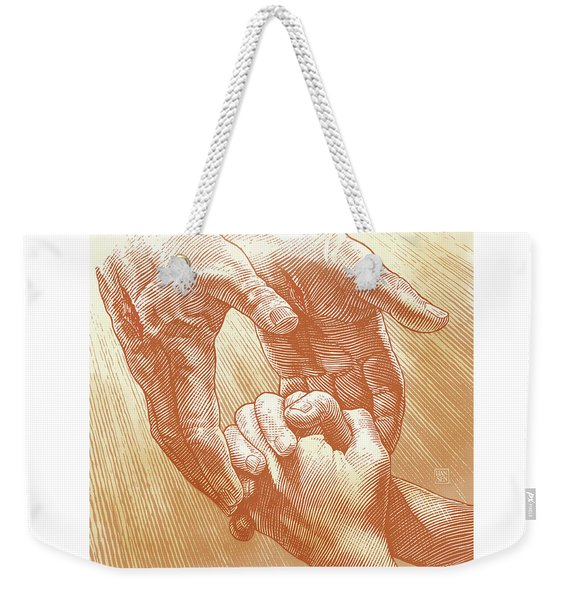 Weekender Tote Bag featuring the drawing Prayer by Clint Hansen