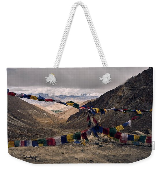 Weekender Tote Bag featuring the photograph Prayer Flags In The Himalayas by Whitney Goodey