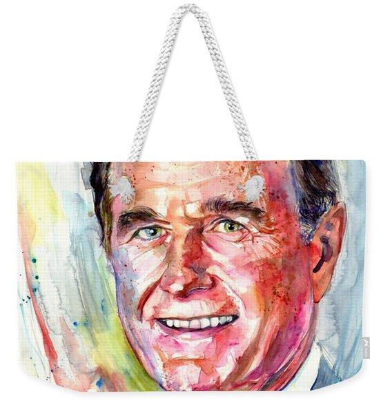 President George H. W. Bush Portrait Weekender Tote Bag
