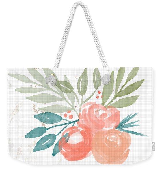 Pretty Coral Roses 2- Art By Linda Woods Weekender Tote Bag