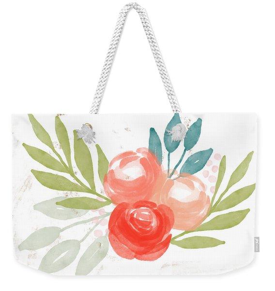 Pretty Coral Roses - Art By Linda Woods Weekender Tote Bag