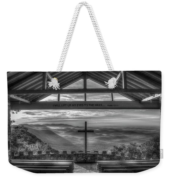 Pretty Place Chapel 2 B W The Son Has Risen Blue Ridge Mountain Art Weekender Tote Bag