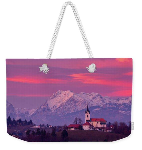 Prezganje Church With Snowy Kamnik Alps At Sunset Weekender Tote Bag
