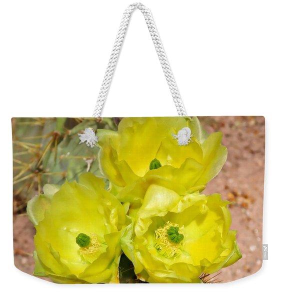 Prickly Pear Cactus Trio Bloom Weekender Tote Bag