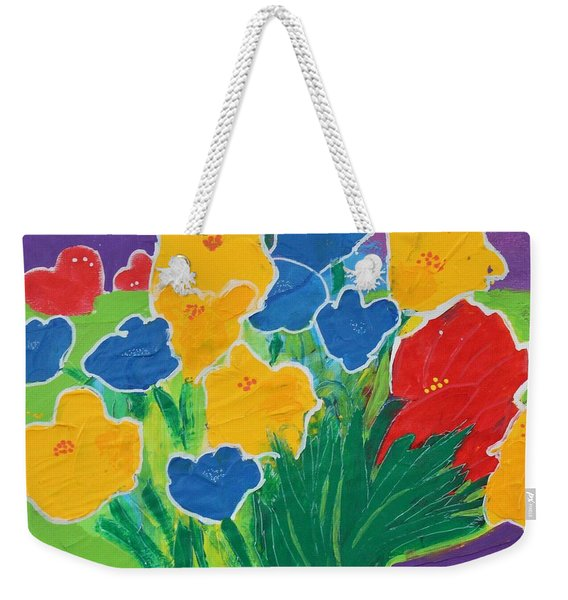 Weekender Tote Bag featuring the painting Primary Bouquet by Kim Nelson