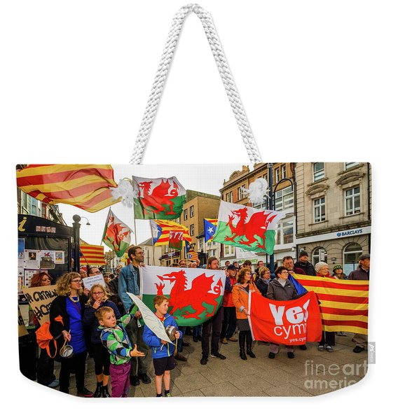 Protesting In Support Of Catalonia Weekender Tote Bag
