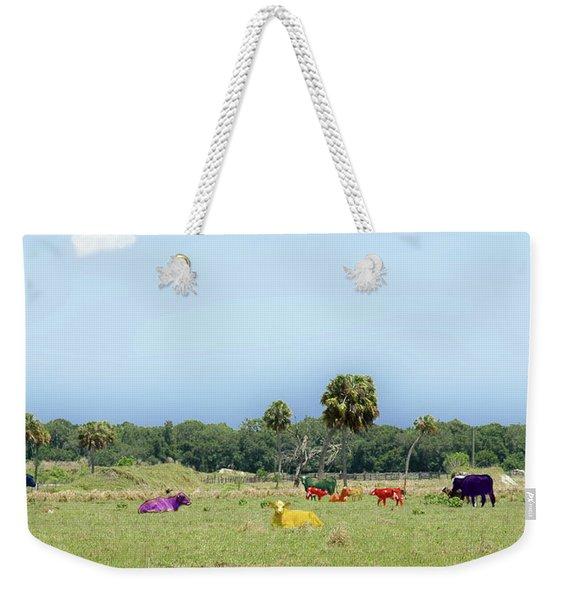 Psychedelic Cows Weekender Tote Bag