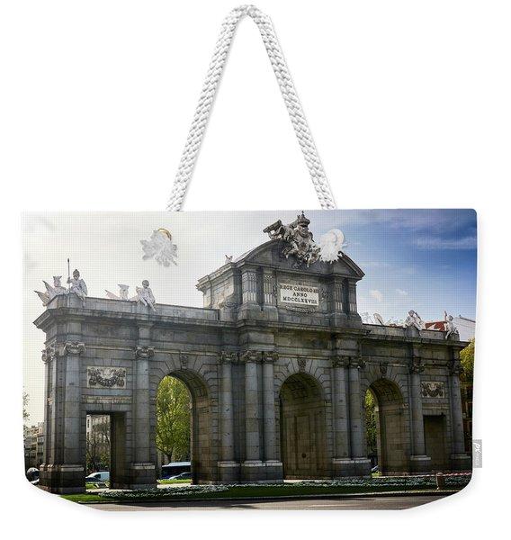 Puerta De Alcala In Madrid, Spain Weekender Tote Bag