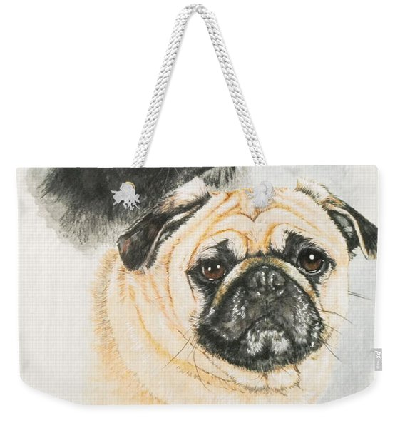 Weekender Tote Bag featuring the painting Pug Brothers In Watercolor by Barbara Keith
