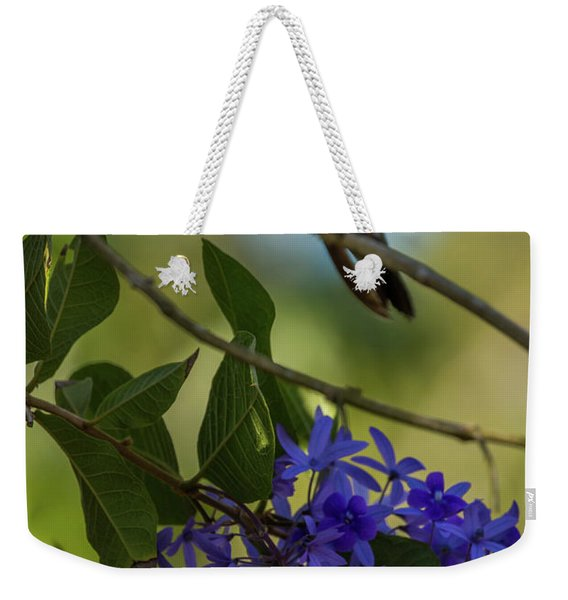 Purple Blossoms And Hummingbird Weekender Tote Bag