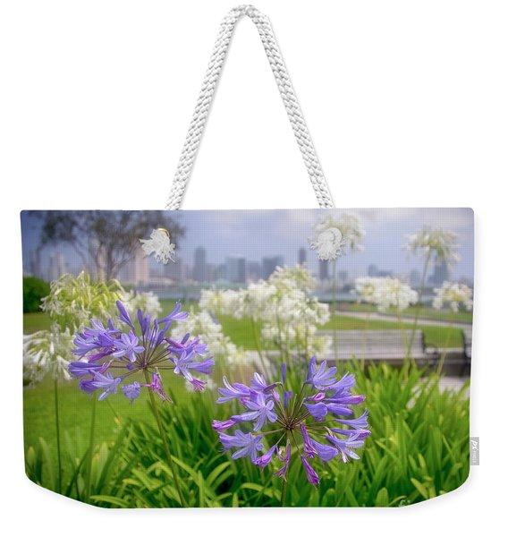 Purple Flowers In San Diego Weekender Tote Bag