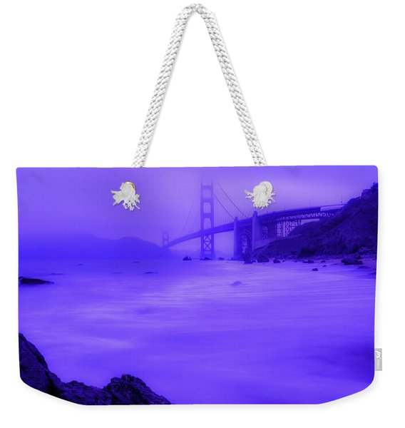 Purple Golden Gate Fog Weekender Tote Bag