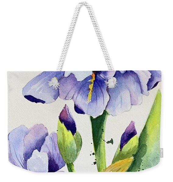 Purple Iris And Buds Weekender Tote Bag