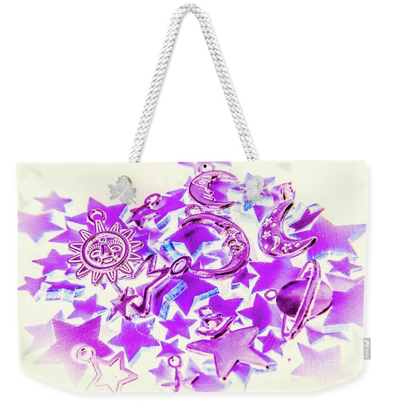 Purple Planetarium Weekender Tote Bag