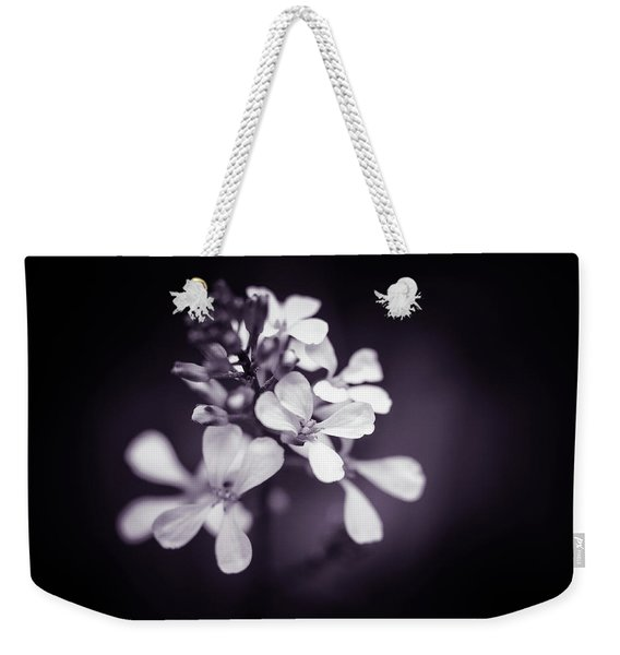 Weekender Tote Bag featuring the photograph Purple Tears by Michelle Wermuth