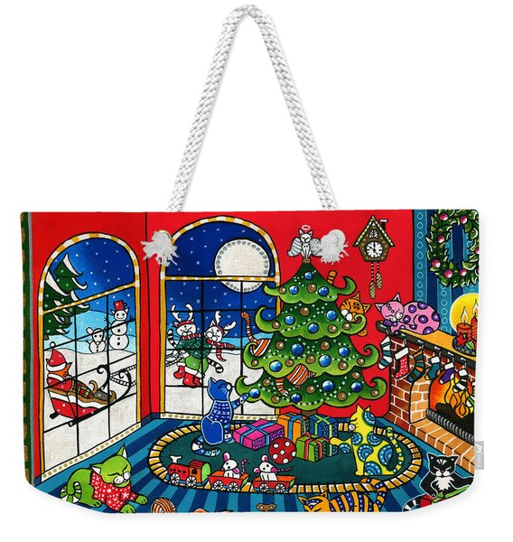 Purrfect Christmas Cat Painting Weekender Tote Bag