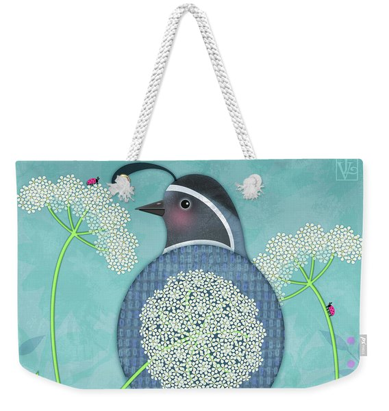 Q Is For Quail And Queen Anne's Lace Weekender Tote Bag