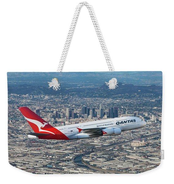 Qantas Airbus A380 Over Los Angeles Weekender Tote Bag