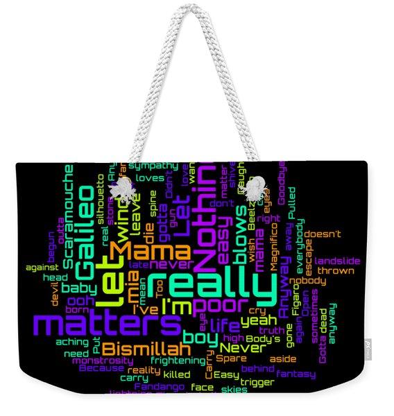 Queen - Bohemian Rhapsody Lyrical Cloud Weekender Tote Bag