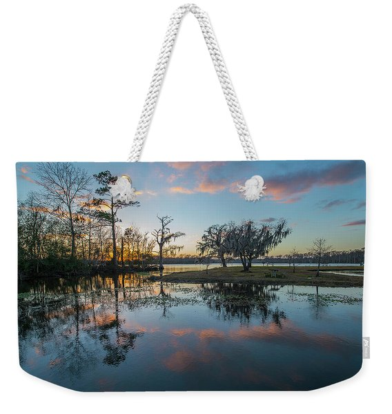 Quiet River Sunset Weekender Tote Bag