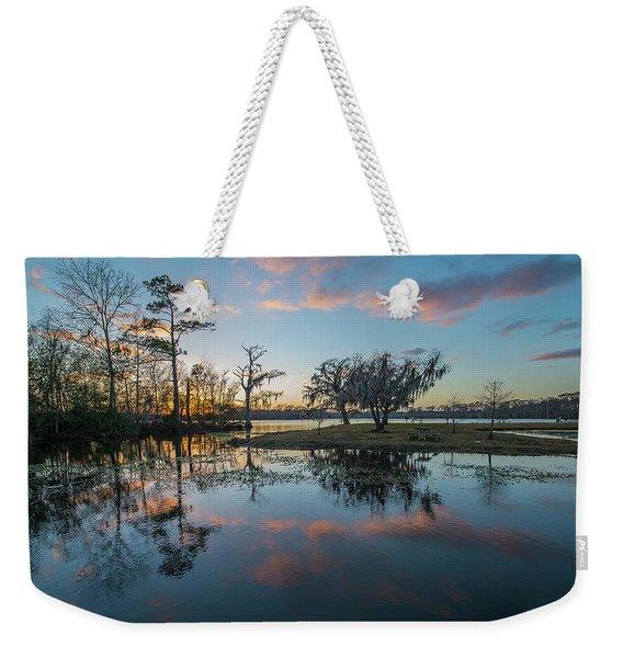 Quiet River Sunset Weekender Tote Bag