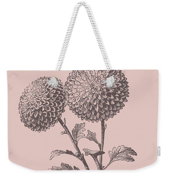 Quilled Pompon Blush Pink Flower Weekender Tote Bag