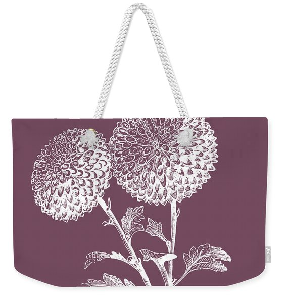 Quilled Pompone Purple Flower Weekender Tote Bag