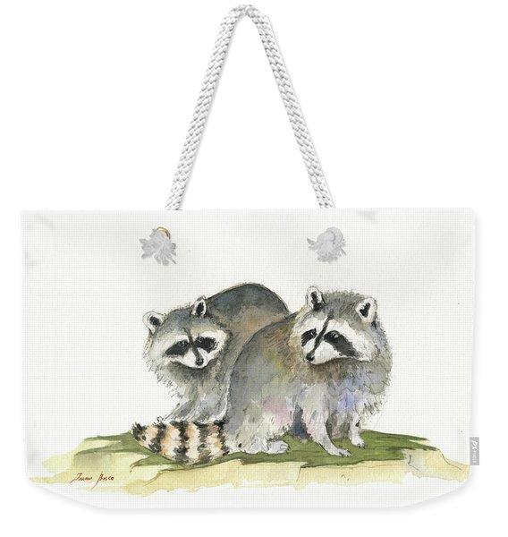 Raccoon Friendship Weekender Tote Bag