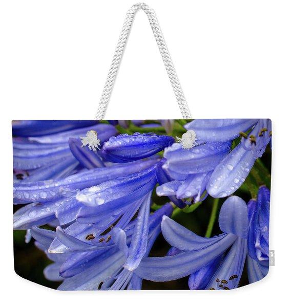 Rain Drops On Blue Flower II Weekender Tote Bag