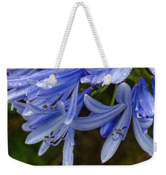 Rain Drops On Blue Flower Weekender Tote Bag
