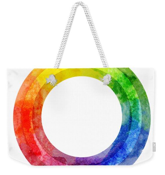 Rainbow Color Wheel Weekender Tote Bag