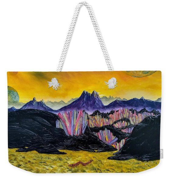 Weekender Tote Bag featuring the painting Rainbow Fries And Centipedes Somewhere In The Multiverse by Kevin Daly