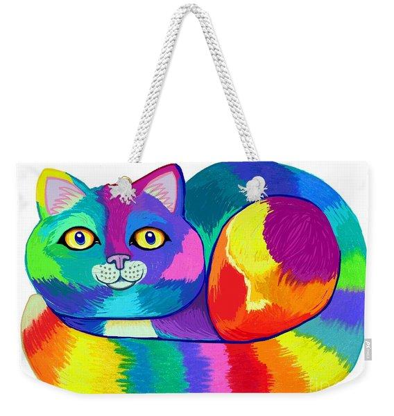 Rainbow Spectrum Cat Weekender Tote Bag