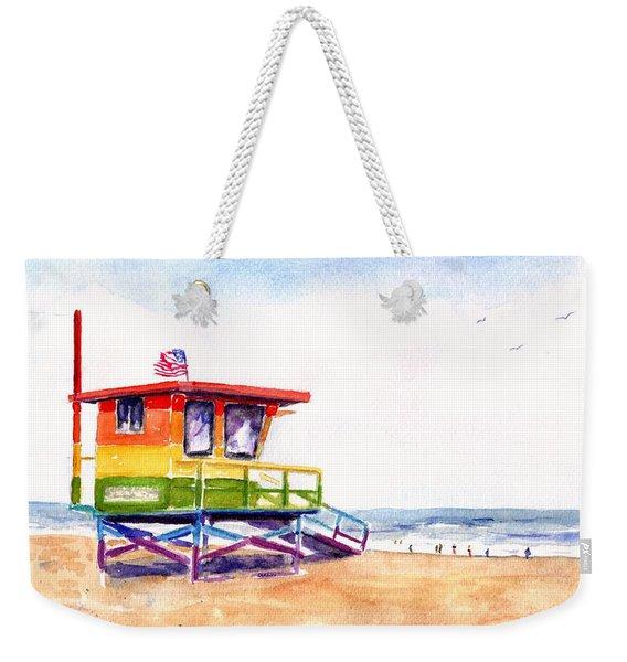 Rainbow Lifeguard Tower Weekender Tote Bag