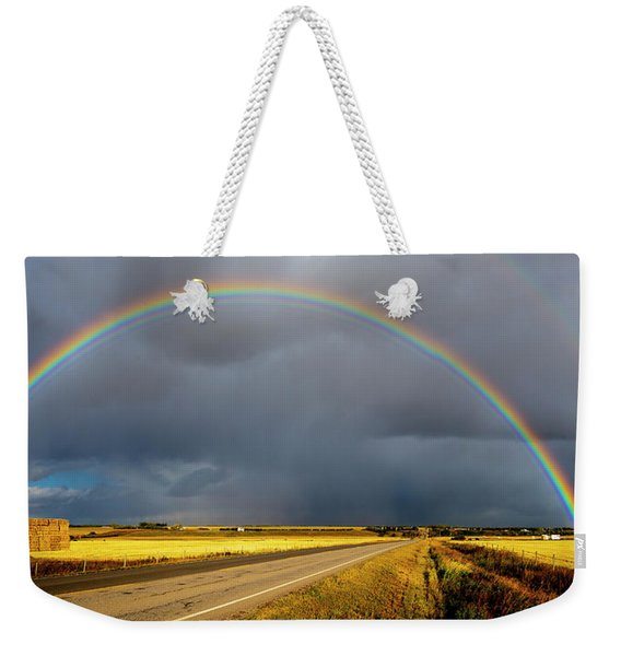 Rainbow Over Crop Land Weekender Tote Bag