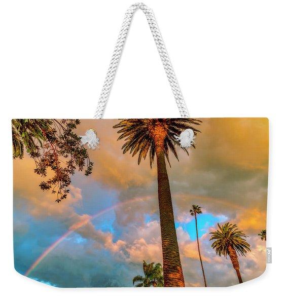 Rainbow Over The Palms Weekender Tote Bag