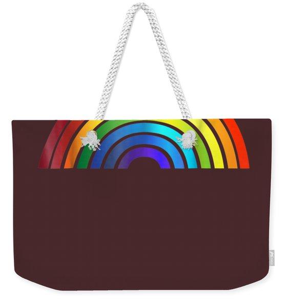 Rainbow T-shirt Simple Style Basic Glossy Stripe Design Weekender Tote Bag