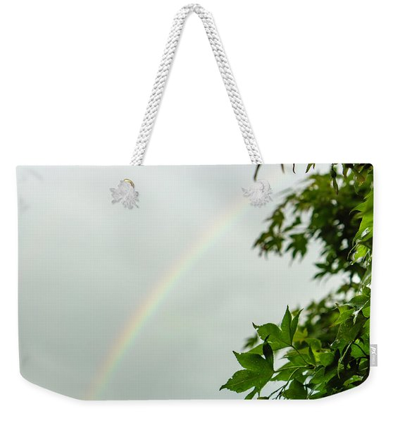 Rainbow With Leaves In Foreground Weekender Tote Bag