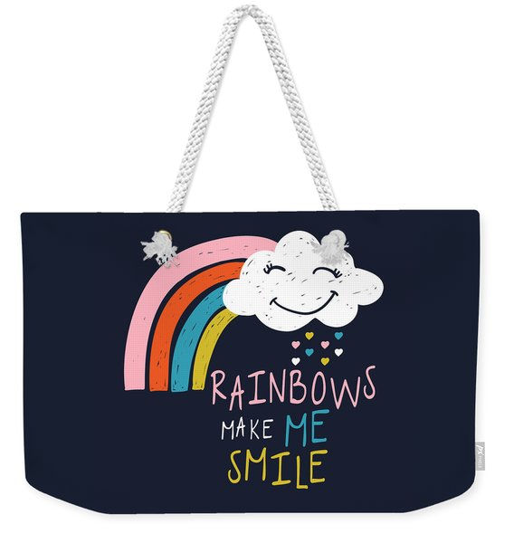Rainbows Make Me Smile - Baby Room Nursery Art Poster Print Weekender Tote Bag